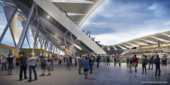 Artist's impression of North Queensland Stadium concourse showing nine-metre width and view onto field