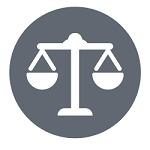 Choose ethical businesses. Icon of justice scales.